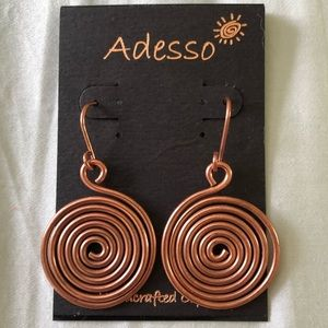 NWT Adesso Handcrafted Copper Earrings